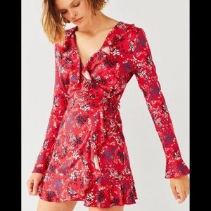 Red floral wrap mini-dress-Urban Outfitters SMALL